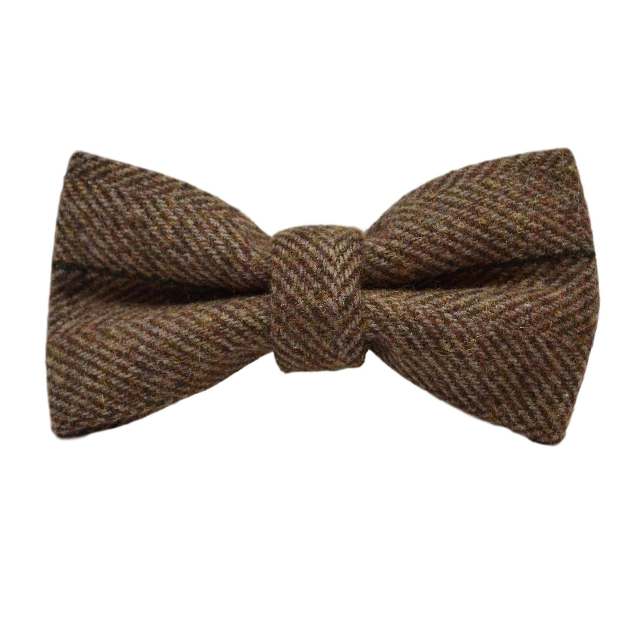 Luxury Peanut Brown Herringbone Check Bow Tie & Pocket Square Set, Tweed