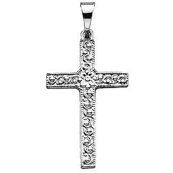 14k White Gold Cross Pendant 20x13mm Bijoux Cadeaux pour les femmes - .7 Grammes