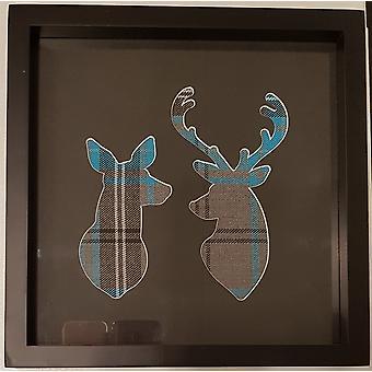 Laura Ann Cards Teal & Grey Tartan Deer & Stag