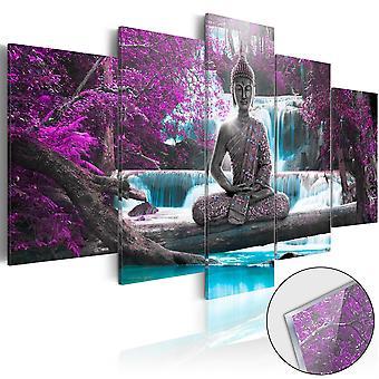 Acrylglasbild - Waterfall and Buddha [Glass]