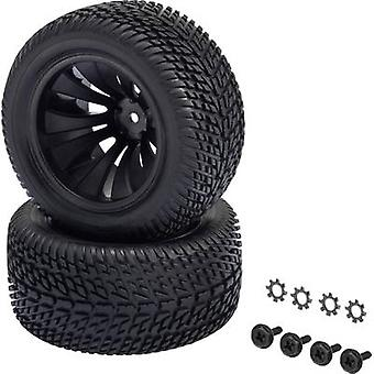 Reely 1:10 XS Truggy Wheels Block Tread 12-spoke Black 2 pc(s)