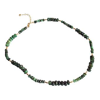 Gemshine - damer - halsband - guldpläterad - Emerald - facetterade - grön
