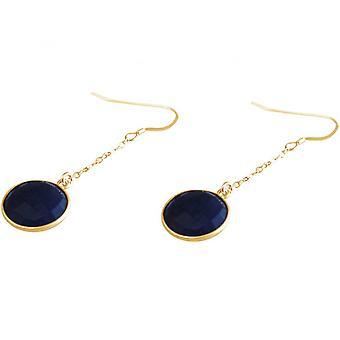 Azul pendientes de - 3,5 cm - zafiro - damas chapado en oro - aretes - - plata 925-