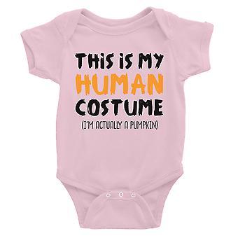 Human Costume Pumpkin Baby Bodysuit Gift Pink