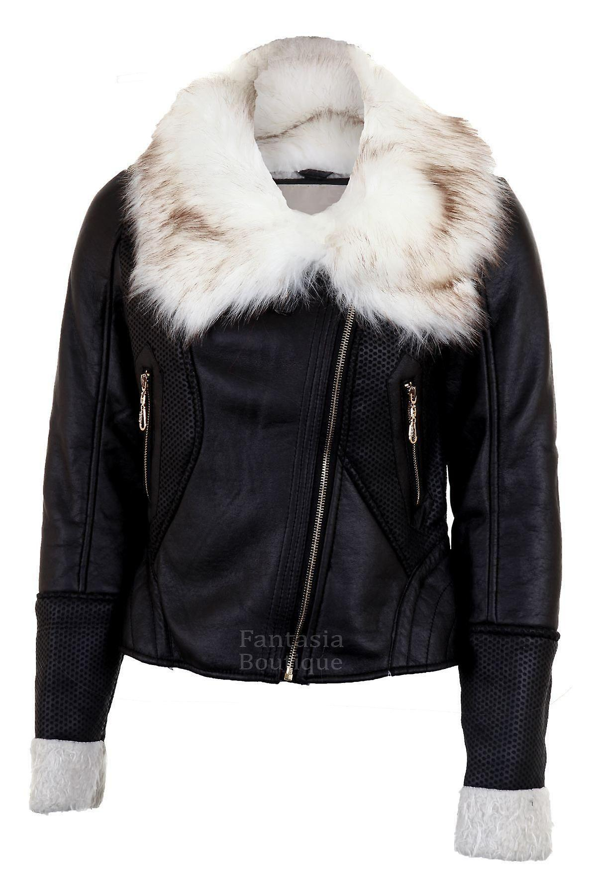 Ladies Long Sleeve Fur Neck Wool Lined Zip Leather PVC Women's Jacket Coat