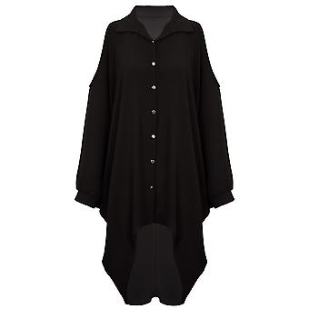 Ladies Cold Shoulder Batwing överdimensionerade chiffong Crepe krage hög låg skjorta