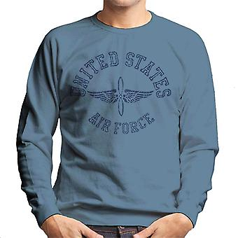 US Airforce Winged Propeller Navy Blue Text Men's Sweatshirt
