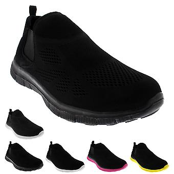 Womens Mesh Athletic Walking Gym Running Elastic Lightweight Trainers UK 3-10