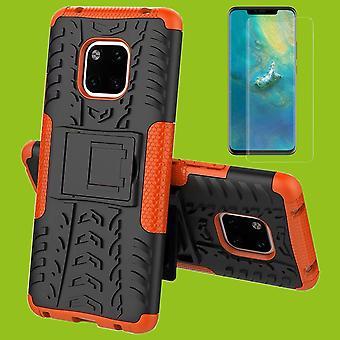 Für Huawei Mate 20 Hybrid Case 2teilig Orange + 0,26 mm 2.5D H9 Hartglas Tasche Hülle Cover Hülle