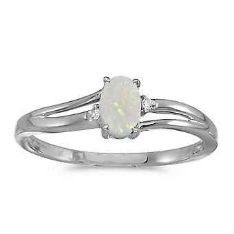 LXR 14k White Gold Oval Opal and Diamond Ring 0.19ct