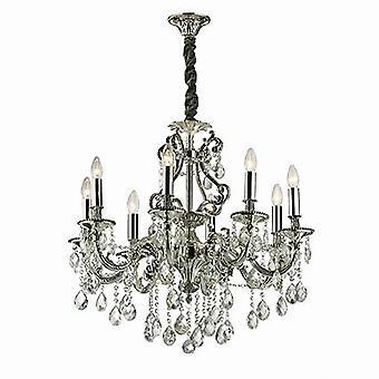 Ideal Lux - Gioconda antik silverfinish åtta ljus ljuskrona med kristaller IDL044934