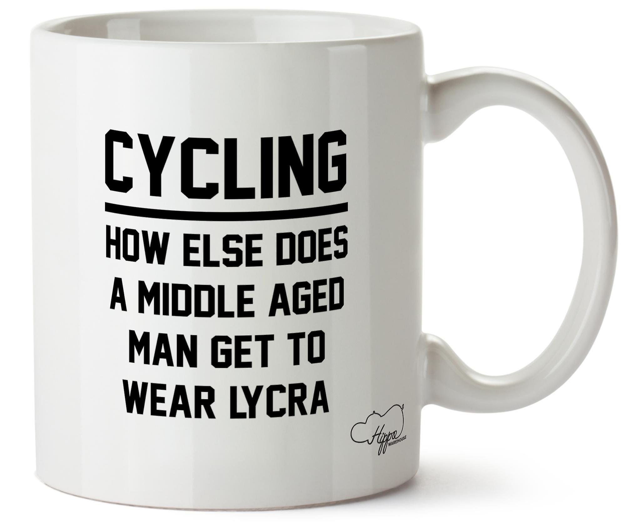 Велоспорт, как еще в середине возрасте человек Hippowarehouse получить носить лайкра 10oz кружка Кубок