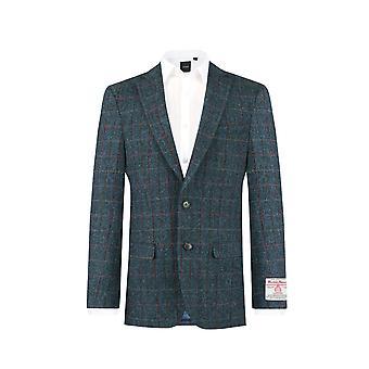 Scottish Harris Tweed menns Dark Blue vindusrute sjekk Tweed Jacket vanlig Fit 100% ull hakk jakkeslaget