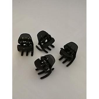 Haar kleine klemmen (4-Pack) (zwart)