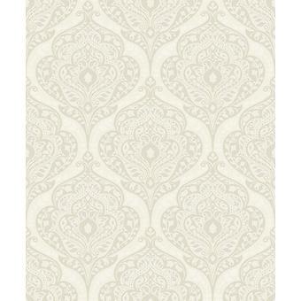 Boheme Damask Cream Wallpaper Heavyweight Textured Gold Glitter Embossed Vinyl