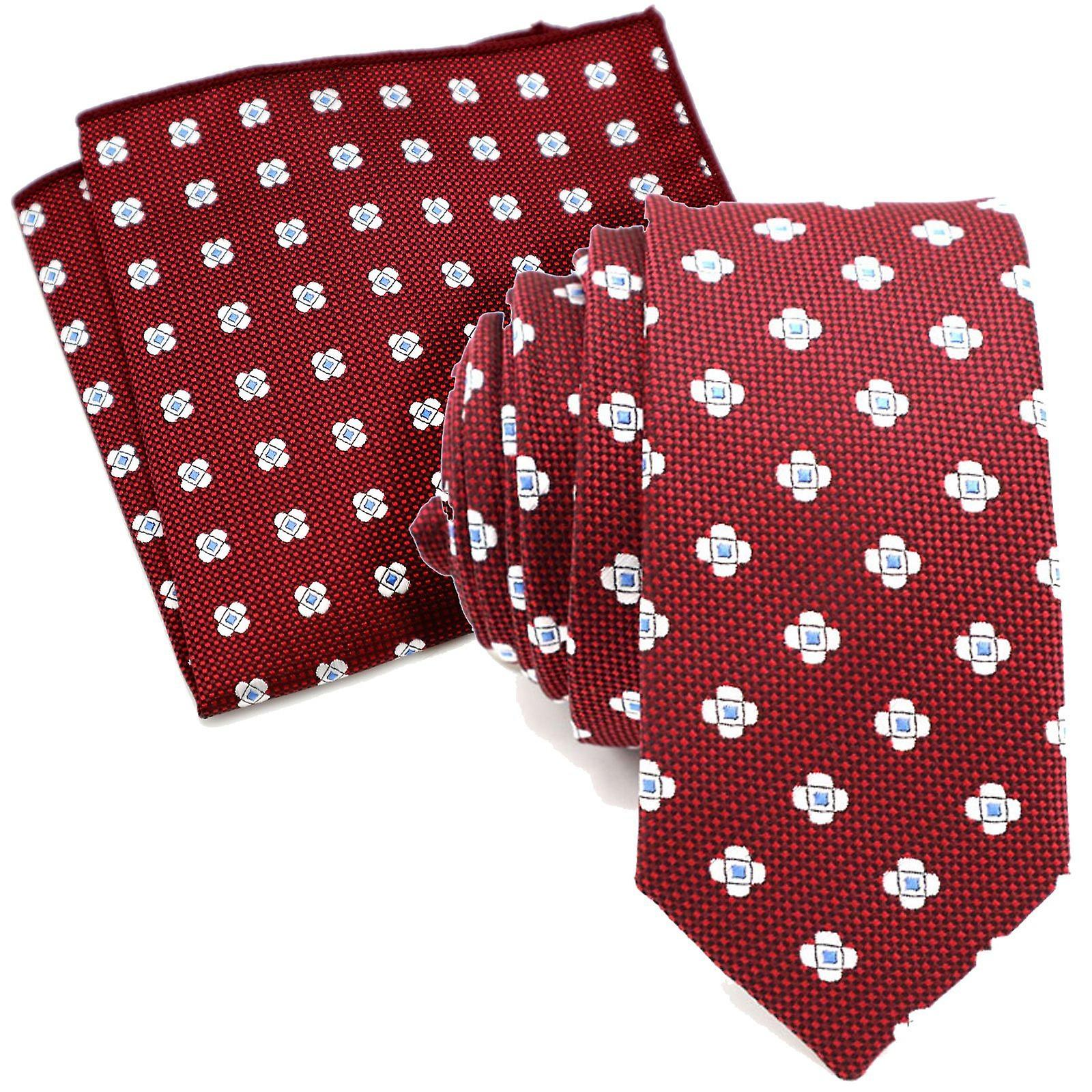 Burgundy & silver flower skinny tie & pocket square