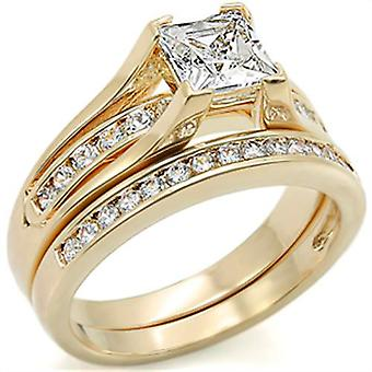Ah! Jewellery 24K Gold Electroplated Princess Cut Simulated Diamond Ring Set in Steel