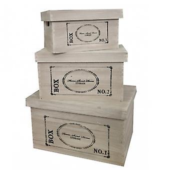 Rebecca Möbelset 3 Kassettenboxen Shabby Brown geschriebene schwarze Küche
