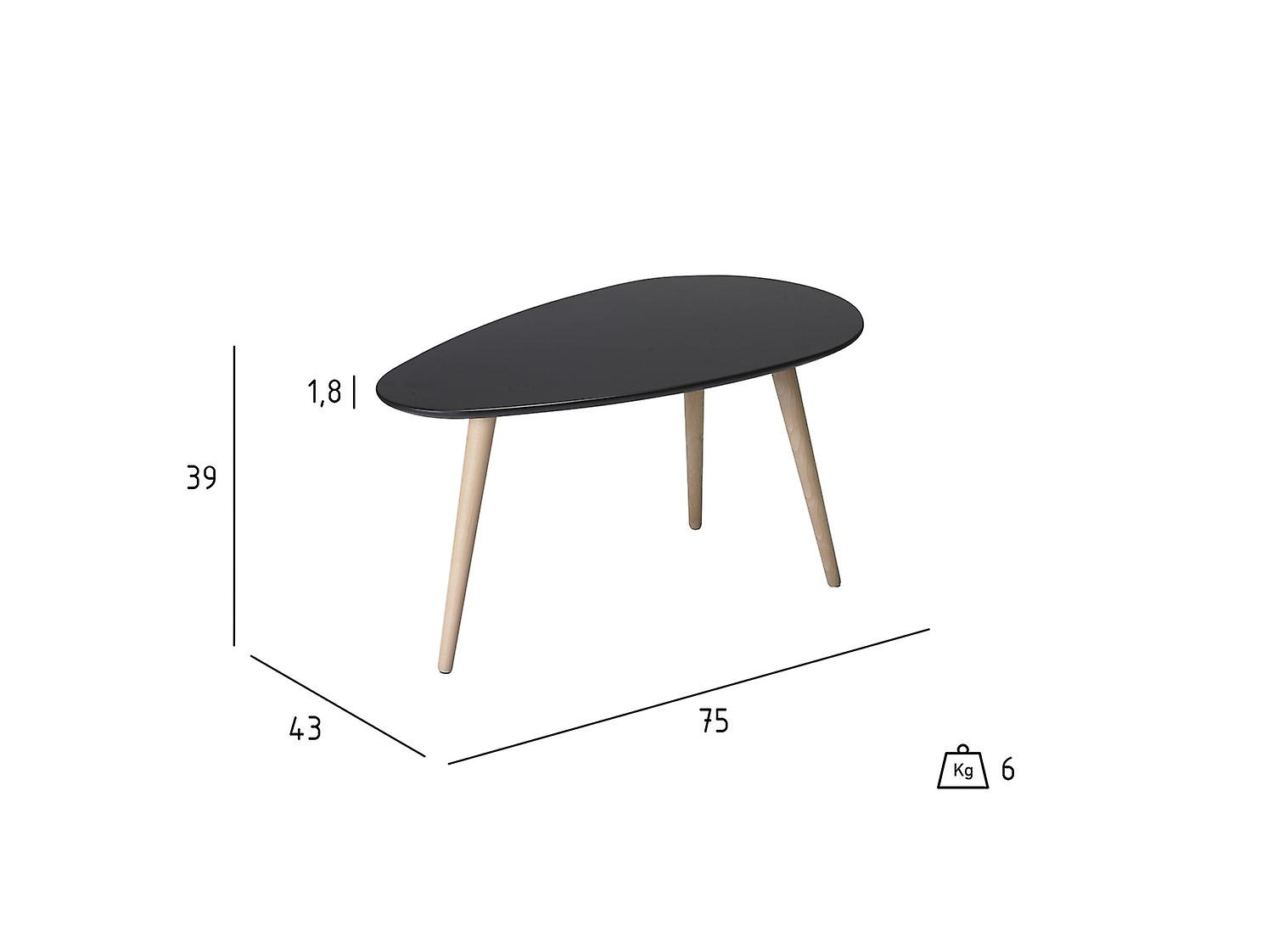 Furnhouse Fly Coffee Table Small,  Black Top, Wooden Legs, 75x43x39 cm