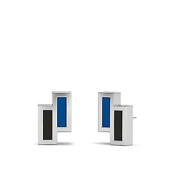 Grand Valley State University Sterling Silver Asymmetric Enamel Stud Earrings In Blue and Black