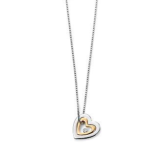 D For Diamond Gold Plated Mother Daughter Heart Pendant