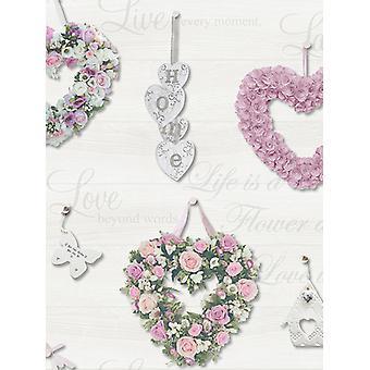 Gracie Floral Hearts Fond d'écran rose et gris Holden 12020