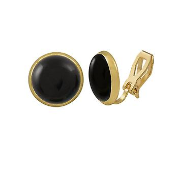 Eternal Collection Symphony Black Onyx Gold Stud Clip On Earrings