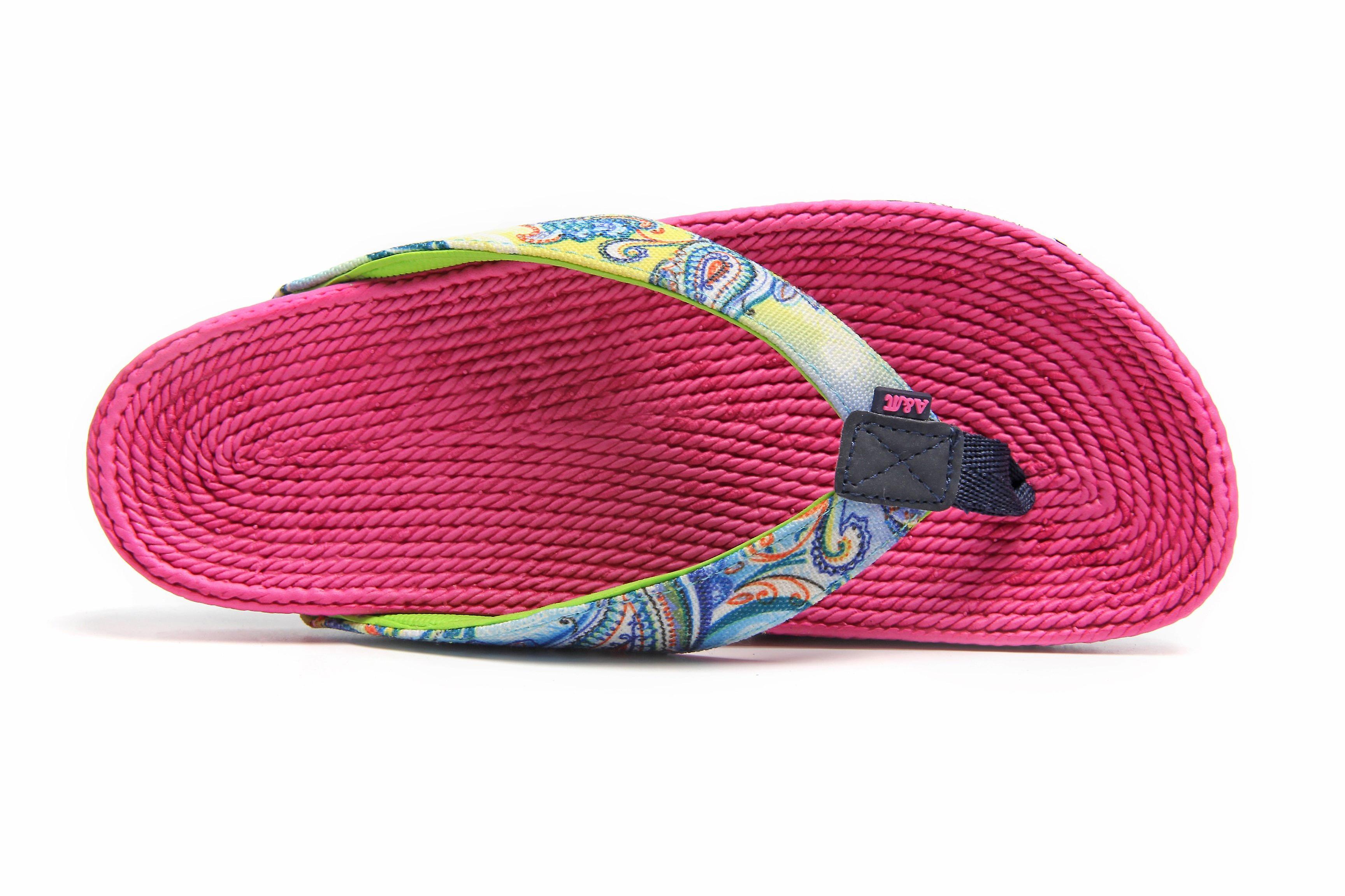 Fancy whirl fuchsia flip flops