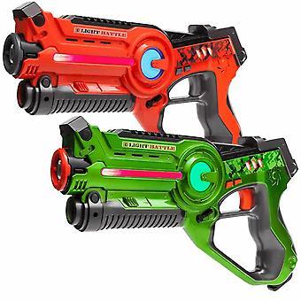 4 Laserpistolen Orange und Grün