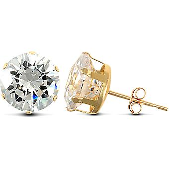 Jewelco London 9ct Yellow Gold White Round Brilliant Cubic Zirconia 6 Claw Solitaire Stud Earrings, 10mm