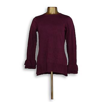 Isaac Mizrahi Live! Kvinner ' s genser ruffle Bell ermet lilla A296763