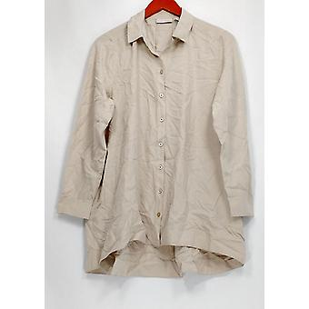 Susan Graver Women's Petite Top Woven Button Front Big Shirt Beige A299875