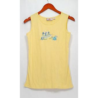 Quacker Factory Top XXS Scoopneck Embroidered Garden Graphic Yellow A263547