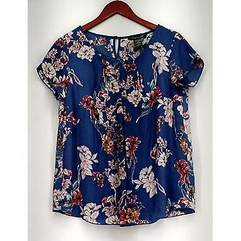 Kate Mallory Top Floral Print Lace Inset Scoop Neck Blouse Bleu / Pink A425705