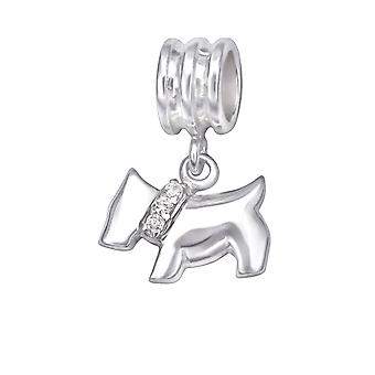 Dog - 925 Sterling Silver Jewelled Beads - W29538X