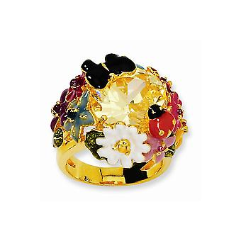 14k Gold Plated 925 Sterling Silver Enameled Canary CZ Cubic Zirconia Simulated Diamond Flower Ring Size 8 Bijoux Cadeaux