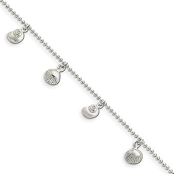 925 Sterling Silver Fancy Lobster Closure Polished Sea Shell Anklet 9 Inch Jewelry Gifts for Women
