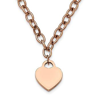 Stainless Steel Fancy Lobster Closure Polished Rose Ip plated With .5inch Ext. Love Heart Necklace 16 Inch Jewelry Gifts