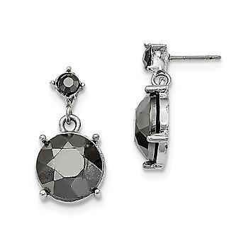 Silver-tone Surgical steel post Hematite Acrylic Stones Post Earrings