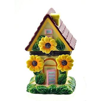 Fairytale Whimsical Sunflower House Hinged Porcelain Trinket Box