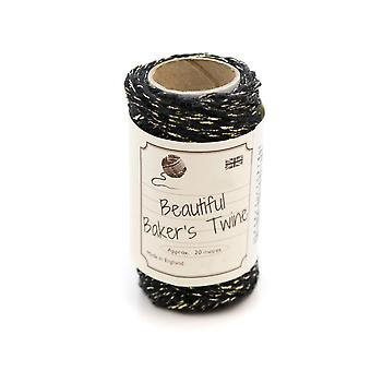 20m Black & Gold Sparkle Natural Bakers Twine for Crafts & Gift Wrapping