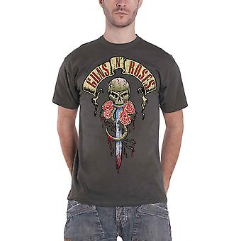 Guns N Roses T Shirt Dripping Dagger Banner Band Logo Official Mens New Charcoal