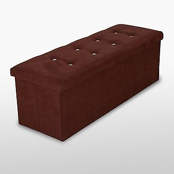 Suede Ottoman With Diamantes - Brown - Large