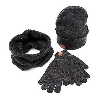 3 Parts Winter Beanie Hat Neck Gloves Set