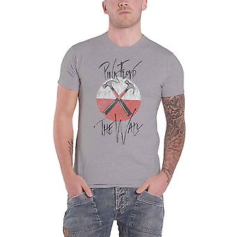 Pink Floyd T Shirt The Wall Faded Hammers Band Logo new Official Mens Grey