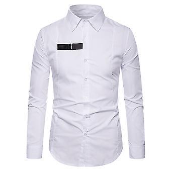 Allthemen الرجال & apos;ق مدببة طوق الصدر الأسود زر قميص طويل الأكمام