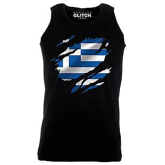 Reality glitch torn greece flag mens vest