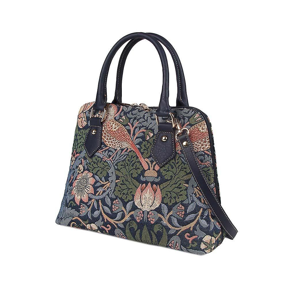 William morris - strawberry thief blue top-handle shoulder bag by signare tapestry / conv-stbl