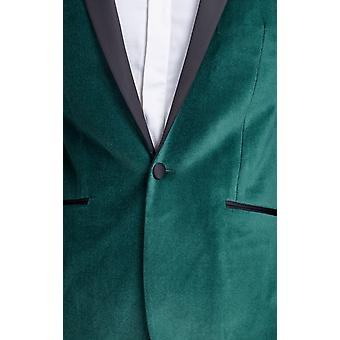 Dobell Mens Racing Green Velvet smoking giacca Regular Fit contrasto picco risvolto