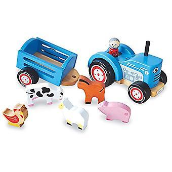 Indigo Jamm Traktor Tim, Retro-Holzspielzeug Fahrzeug- und abnehmbarer Anhänger mit Nutztieren und abnehmbaren Treiber